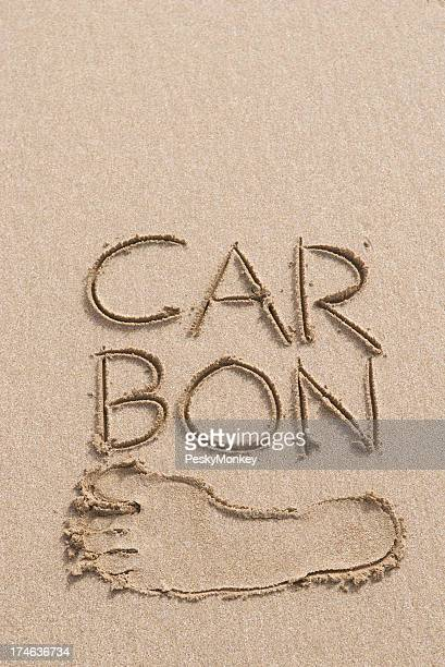 Carbon Footprint Message in Sand