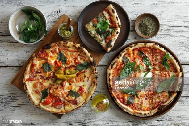 carbonara pizza and meat pizza - home made stock pictures, royalty-free photos & images