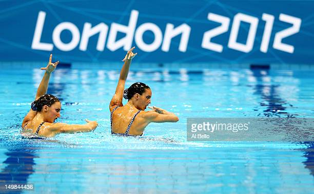 Carbonell Ballestero and Andrea Fuentes Fache of Spain compete in the Synchronised Swimming Duets Technical Routine on Day 9 of the London 2012...