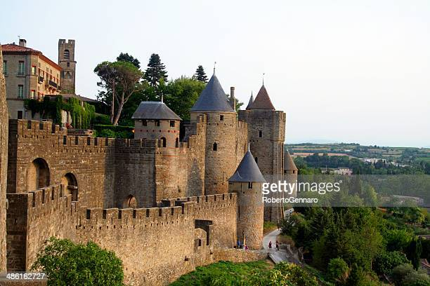 Carcassone medieval citadel at dusk. France.