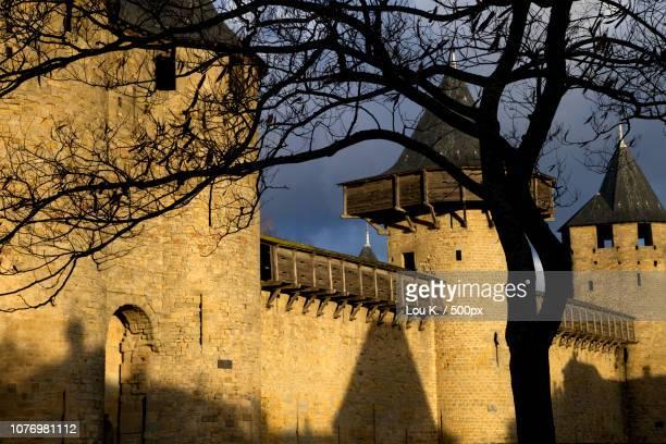 carcassonne castel - france castel photos et images de collection