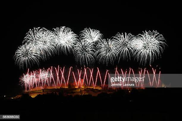 carcassonne fireworks 2016 - bastille day stock pictures, royalty-free photos & images