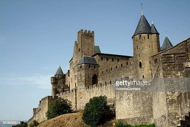 Carcassonne Frankreich Languedoc Roussillon mittelalterlichen Festung Wehrmauer
