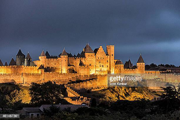 Carcassonne medieval city at dusk
