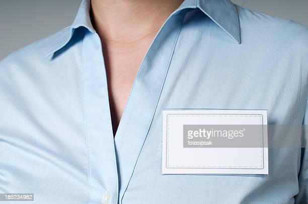 card badge - werkneemster stockfoto's en -beelden