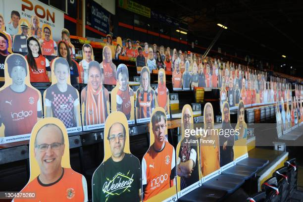 Card Board cut outs of fans are seen in the stands prior to the Sky Bet Championship match between Luton Town and Sheffield Wednesday at Kenilworth...