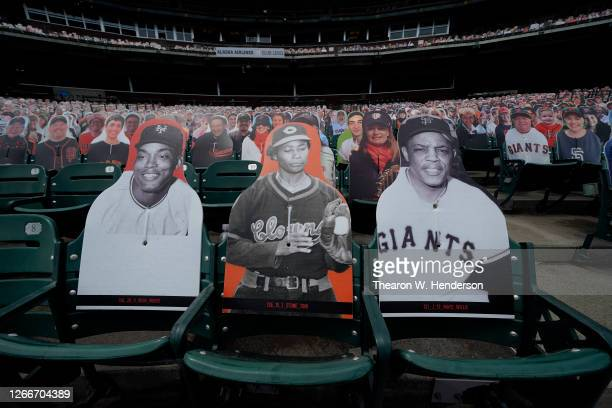 Card board cut outs of hall of famers Monte Irvin of the New York Giants, Toni Stone the first female to play in the Negro Leagues and Willie Mays...