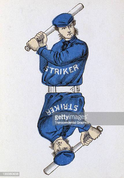 A card from a game features various players including the striker printed in 1884 in New York City