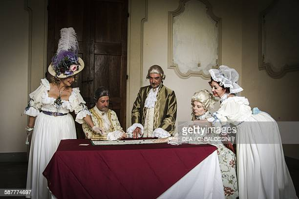 Card game at the court of Marie Antoinette queen consort of France France second half 18th century Historical reenactment
