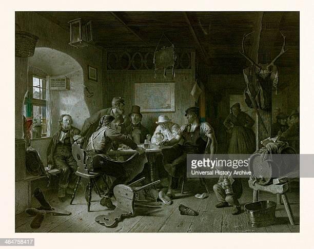 Card Game By Karl Von Enhuber 18111867 German Painter Germany Everyday Life Interior Figures Men Cards Beer Beer Jug Barrel Boy Table Chair 19th...