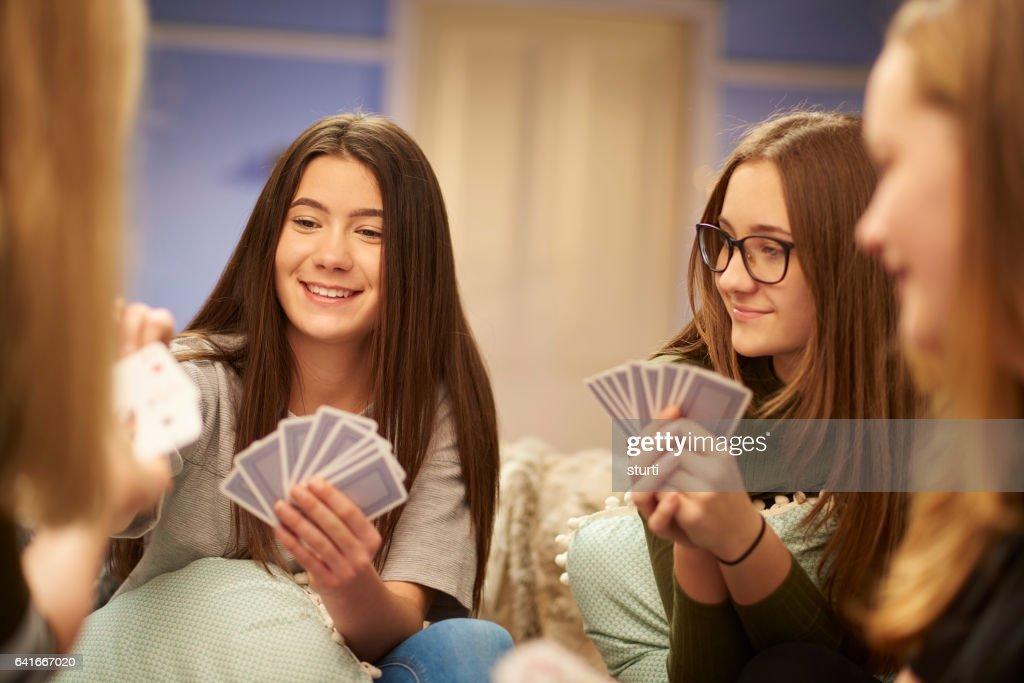 card game teens : Stock Photo