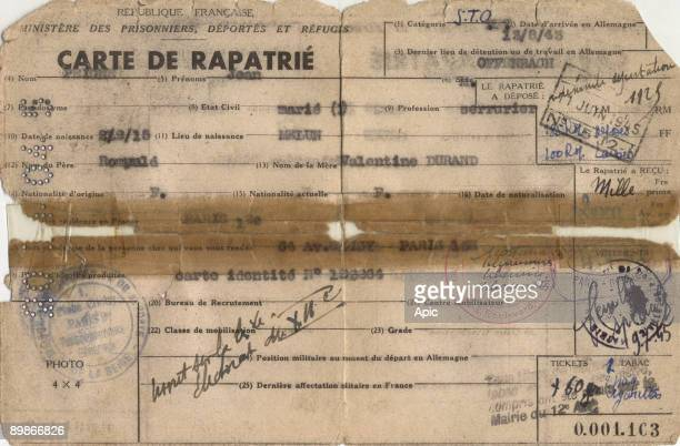 Card of french repatriated Jean Peigne made in 1945