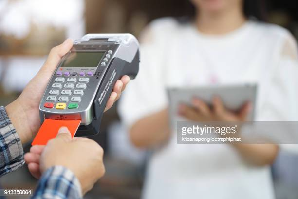 card payment terminal POS terminal with credit card.