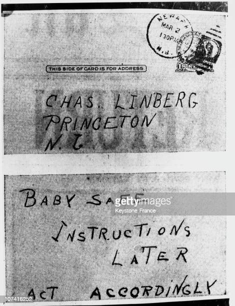 Card Sent To Colonel Lindbergh By The Kidnapper Of His Baby