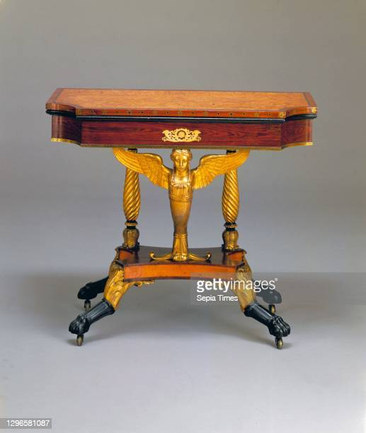 Card Table, 1810–19, Made in New York, New York, United States, American, Bird's-eye maple, rosewood, satinwood, mahogany, brass; secondary wood:...