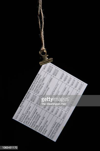 A card with clients of Interior Deputy Secretary David Bernhardt are seen listed on this small card which he carries with him as he performs his job...