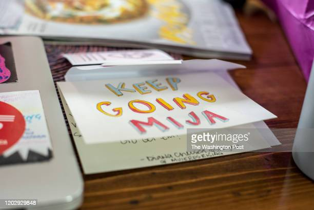 A card with Keep Going Mija written on it sits on the kitchen table of Cristina Tzintzún Ramirez at her home in Austin Texas on Sunday Jan 13 2020...