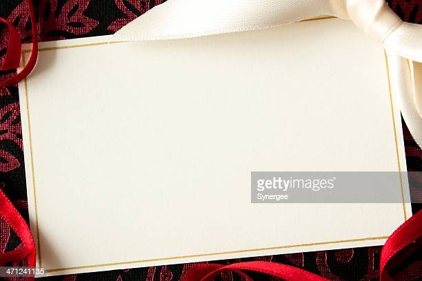 card with ribbons. - christmas frame stock pictures, royalty-free photos & images