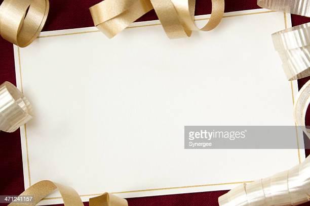 tarjeta con cintas. - aniversario fotografías e imágenes de stock