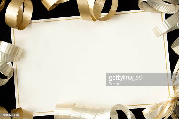Card with ribbons.