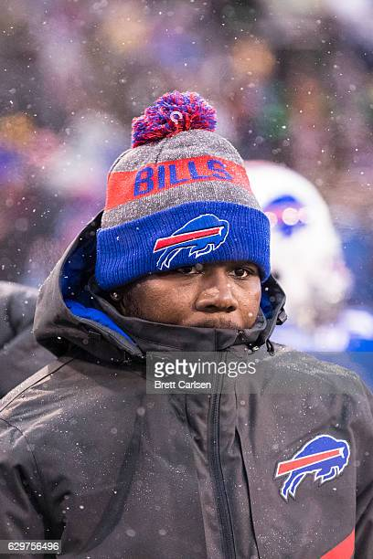Cardale Jones of the Buffalo Bills watches game action from the sideline during the fourth quarter against the Pittsburgh Steelers on December 11...