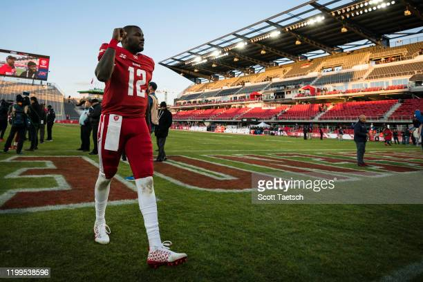 Cardale Jones of the DC Defenders celebrates after the XFL game against the Seattle Dragons at Audi Field on February 8 2020 in Washington DC