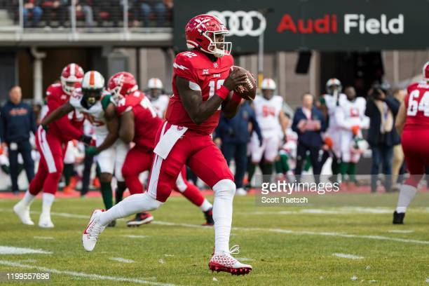 Cardale Jones of the DC Defenders looks to pass against the Seattle Dragons during the first half of the XFL game at Audi Field on February 8 2020 in...