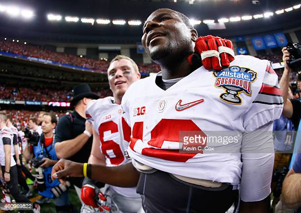 Cardale Jones of the Ohio State Buckeyes celebrates after defeating the Alabama Crimson Tide in the All State Sugar Bowl at the MercedesBenz...