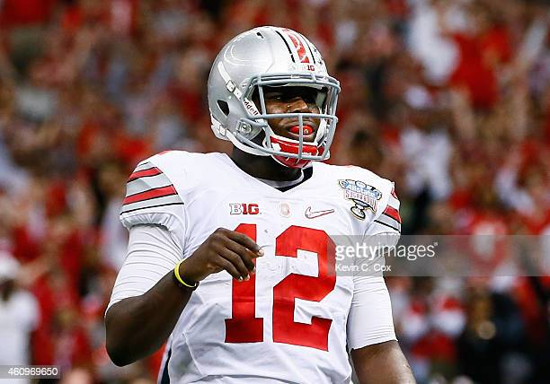 Cardale Jones of the Ohio State Buckeyes reacts after a two point conversion in the fourth quarter against the Alabama Crimson Tide during the All...