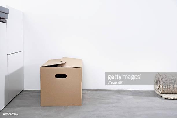 Cardboard box at living room