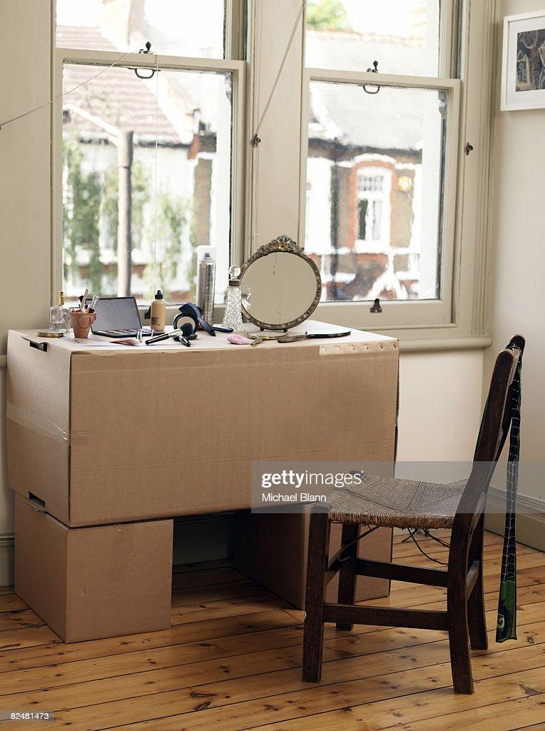 Cardboard box dresser : Stock Photo