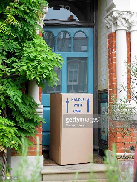 Cardboard box on doorstep