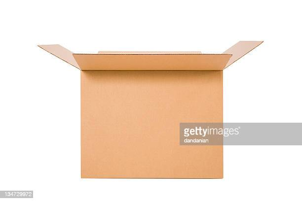 cardboard box open - clipping path