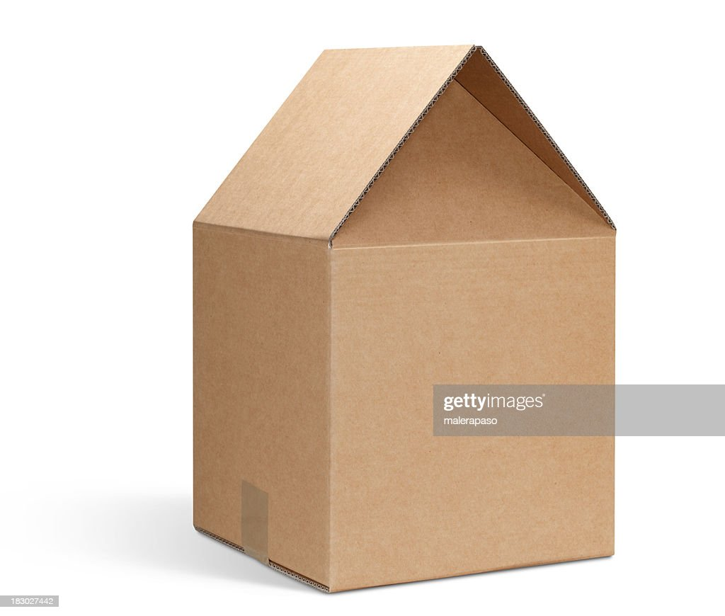Cardboard box shaped house stock photo getty images for House in a box
