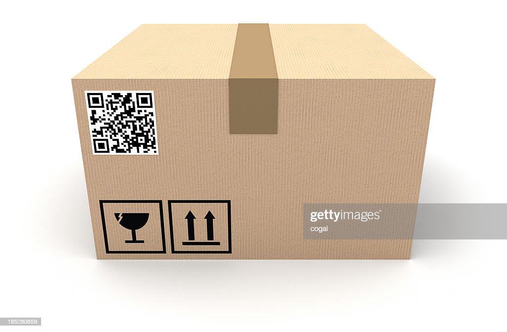 Boîte en carton avec QR code : Photo