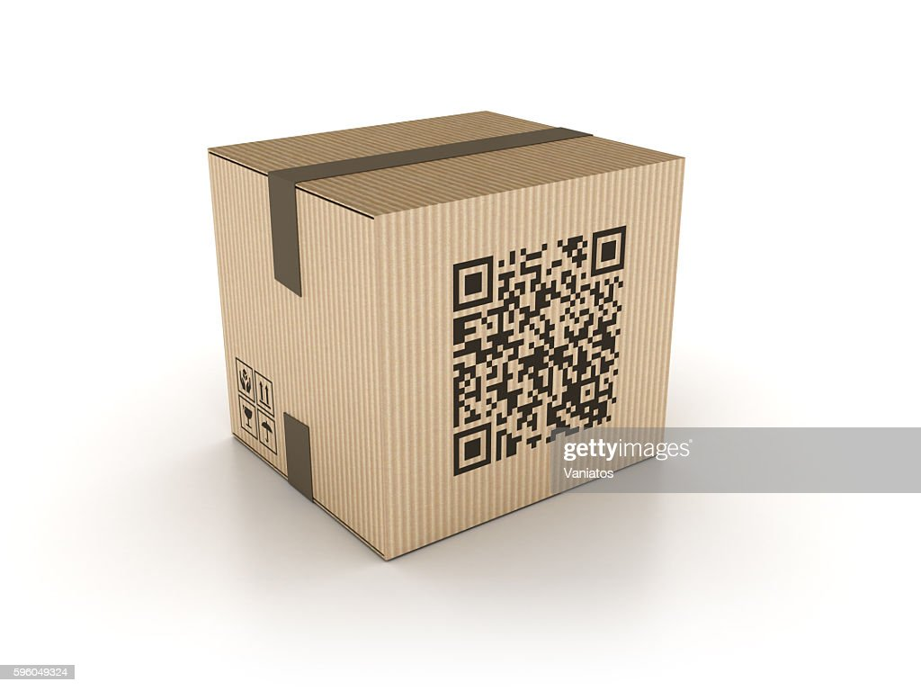 Cardboard Box With QR Code Stamp Stock Foto