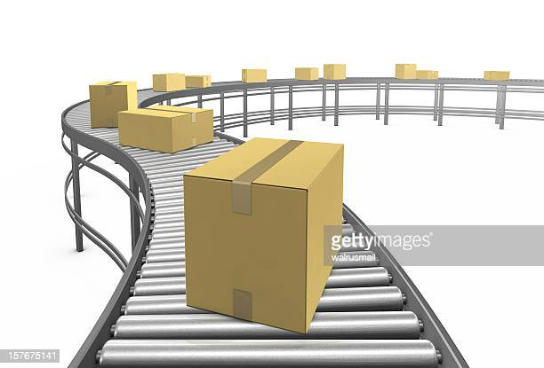 cardboard boxes. 3d render. - metallic belt stock pictures, royalty-free photos & images