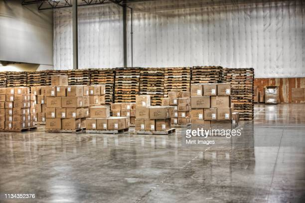 cardboard boxes and pallets in warehouse - box container stock pictures, royalty-free photos & images