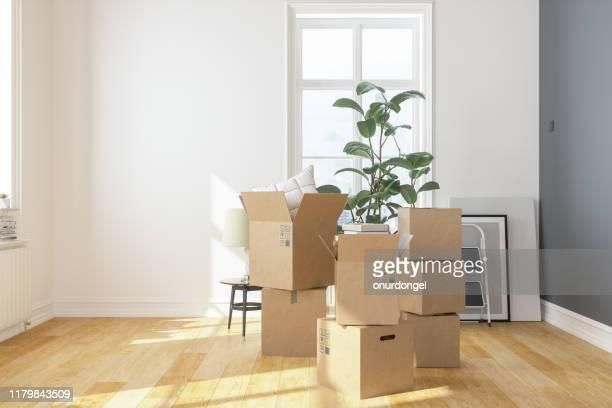cajas de cartón en apartamento nuevo - movimiento fotografías e imágenes de stock