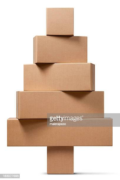 cardboard boxes in the shape of a christmas tree - carton stock photos and pictures