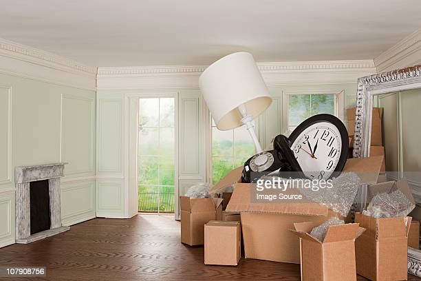 Cardboard boxes of objects in tiny room