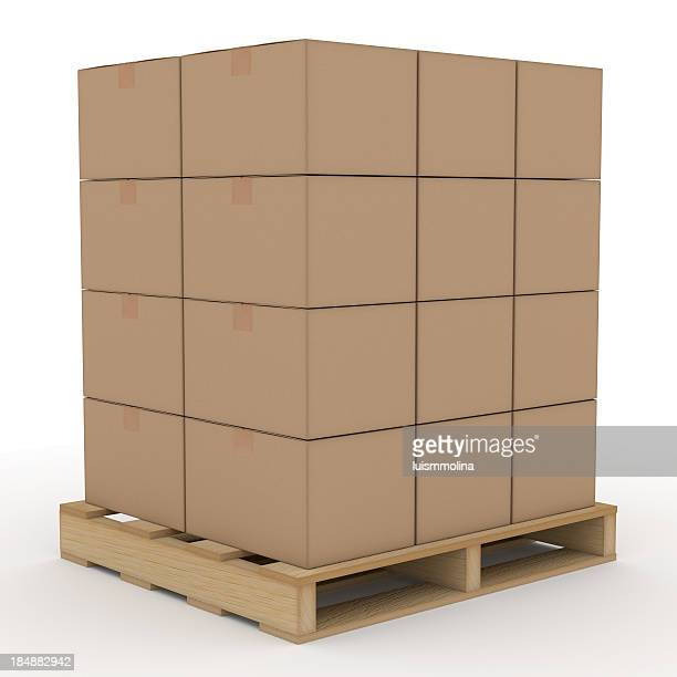 Cardboard boxes on a wooden shipping pallet