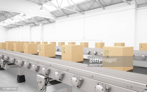 cardboard boxes on conveyor belt - belt stock pictures, royalty-free photos & images