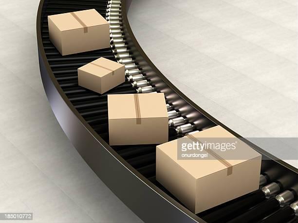 Cardboard Boxes on Conveyor