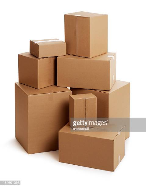 Cardboard Boxes on White