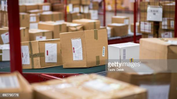 cardboard boxes package on conveyor belt - post structure stock pictures, royalty-free photos & images