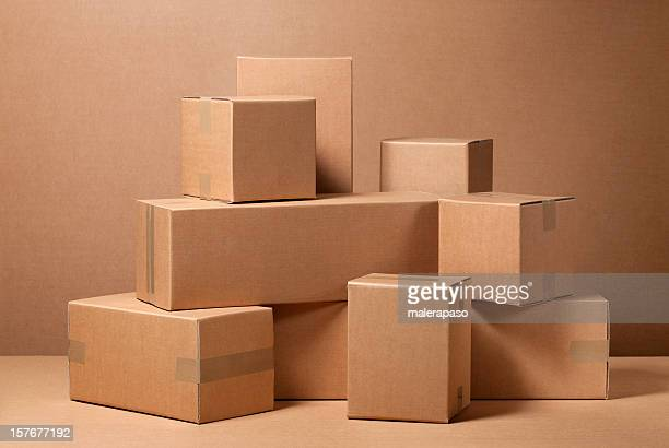 cardboard boxes - carton stock photos and pictures