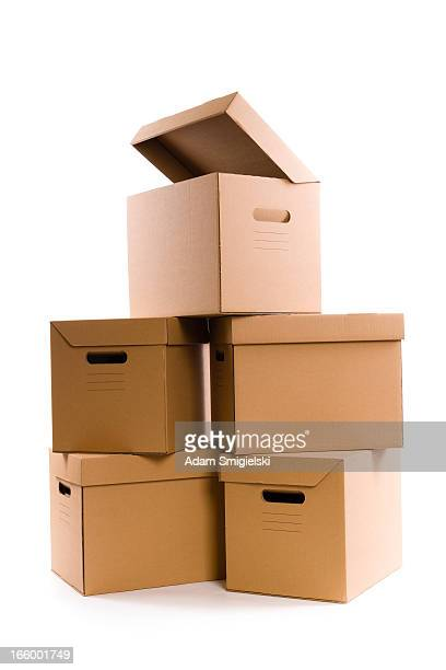 cardboard boxes - lid stock photos and pictures