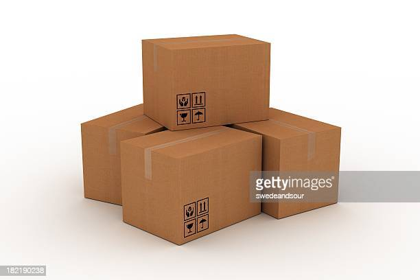 cardboard boxes - fragile sign stock pictures, royalty-free photos & images