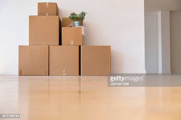 Cardboard boxes stacked against wall in empty apartment